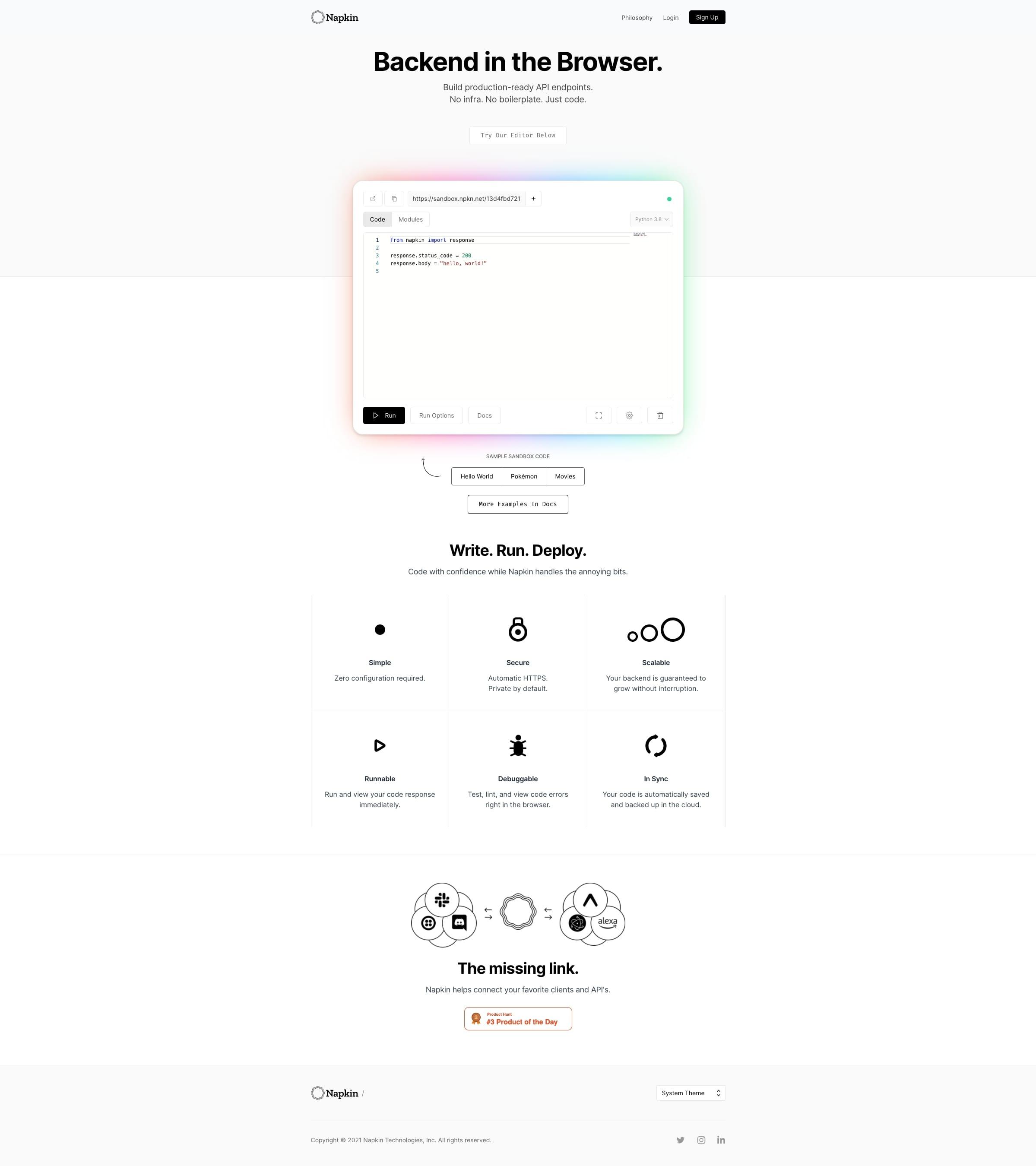 Napkin backend browser website