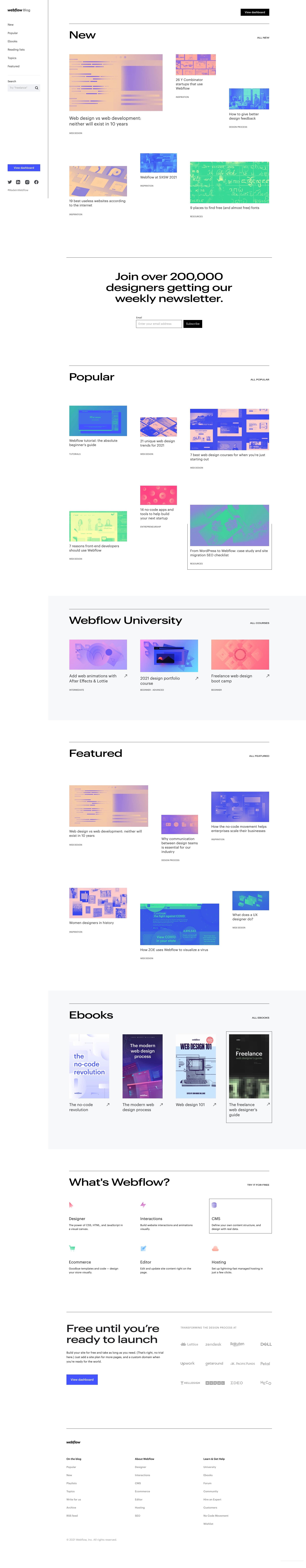 Webflow Blog homepage design