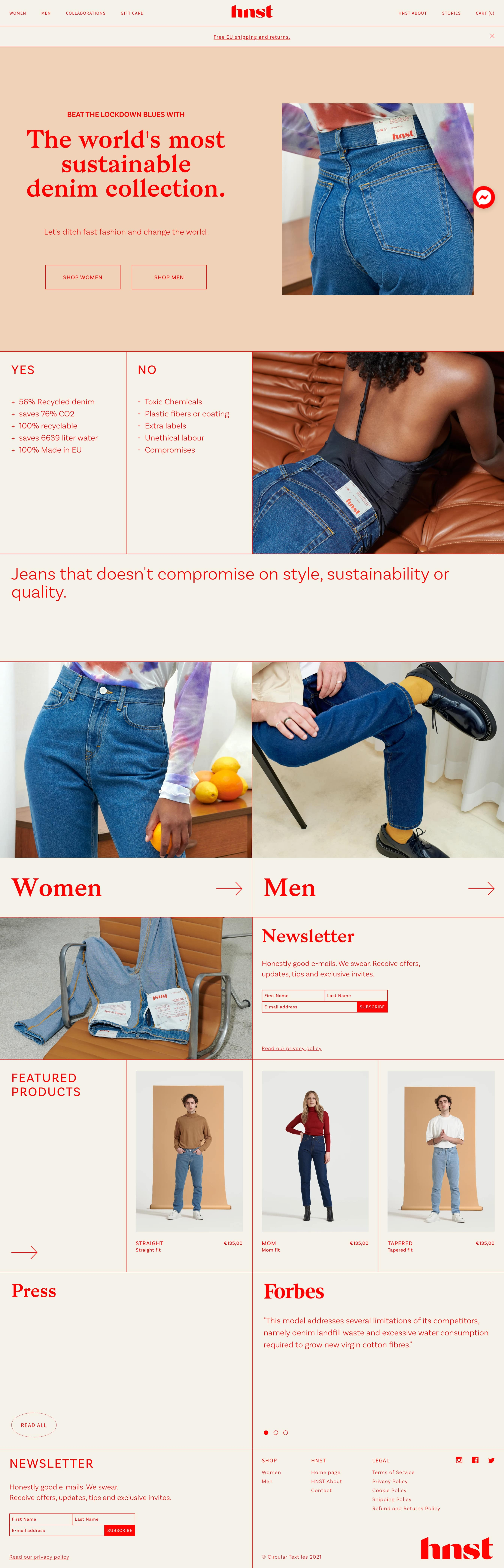 HNST Jeans ecommerce website homepage