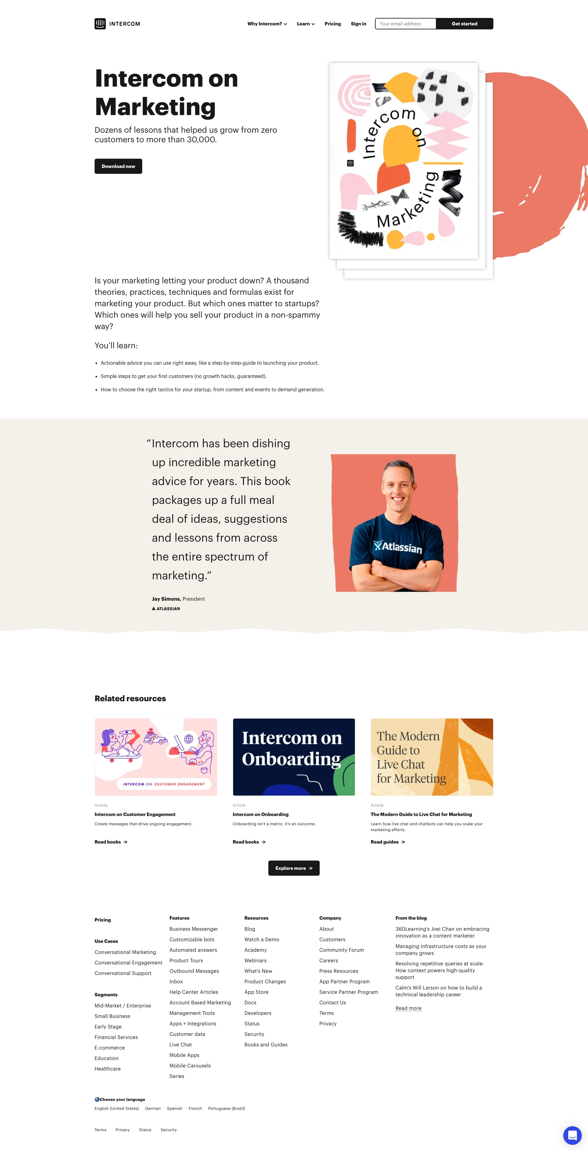 Intercom on marketing ebook landing page