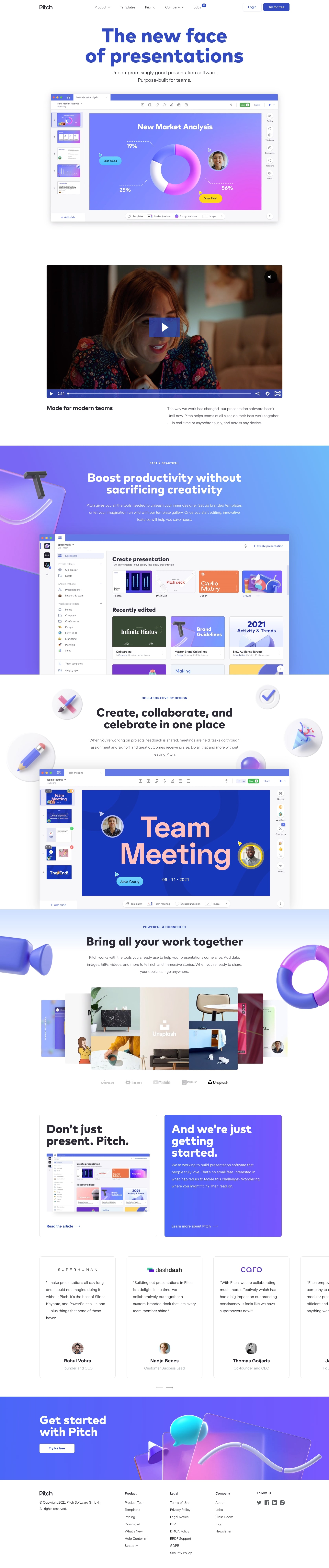 Pitch homepage