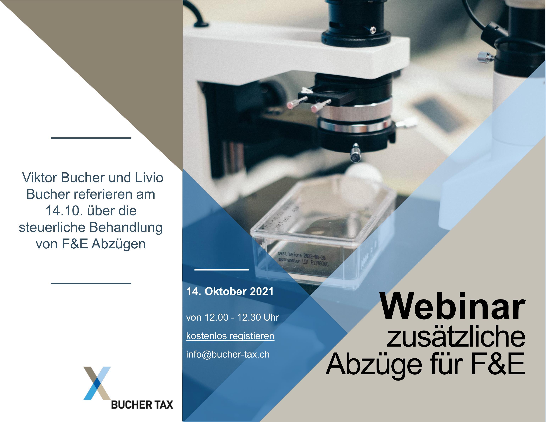 Bucher Tax - Webinar - zusätzliche Abzüge für F&E