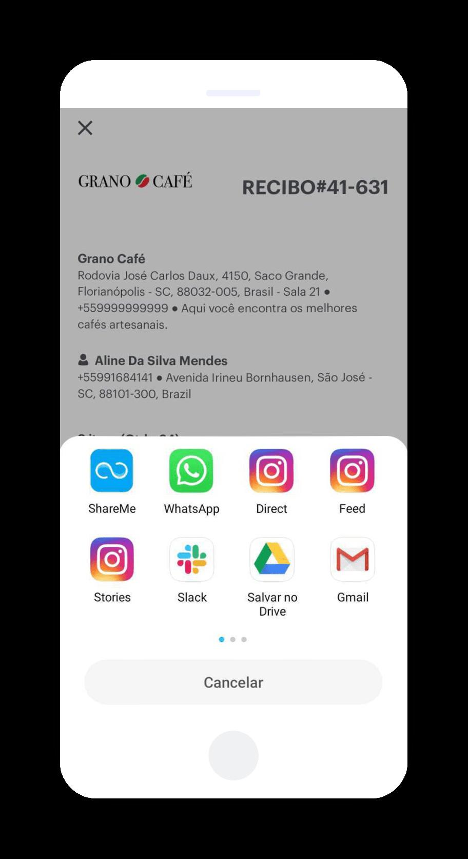 Emita recibos por WhatsApp e impressos
