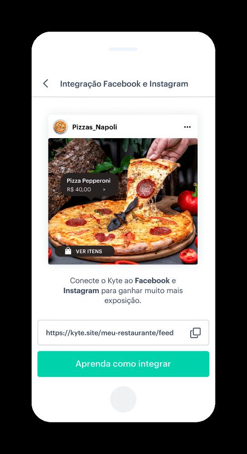 Compartilhe seu cardápio de pizza nas redes sociais