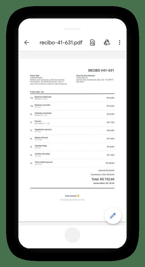 Guarde o recibo de venda em PDF
