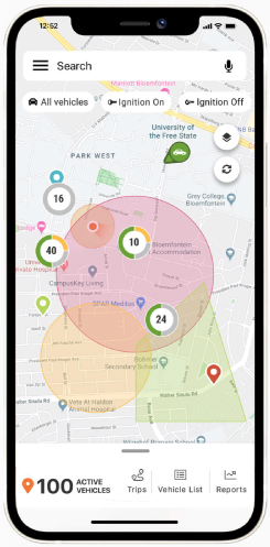 Cartrack app allows you to create Geofences perimeters where you define where your vehicle is supposed to go and get a push-notification when your vehicle enters or leaves these virtual parameters.