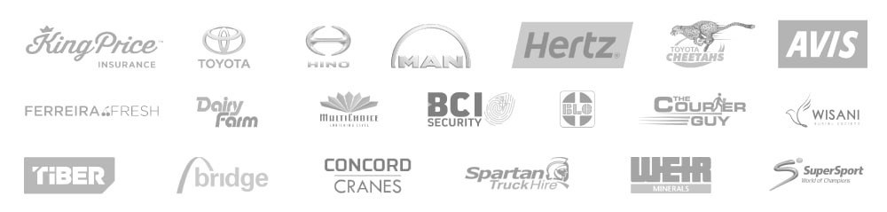 Company logos of some of Cartrack's customers across 23 countries including Man Trucks & Bus, Revlon, Michelin Tyres, Asia Brewery, Hertz car rental, Avis car rental, AngloAmerican mining, LG, Heineken and Lafarge.