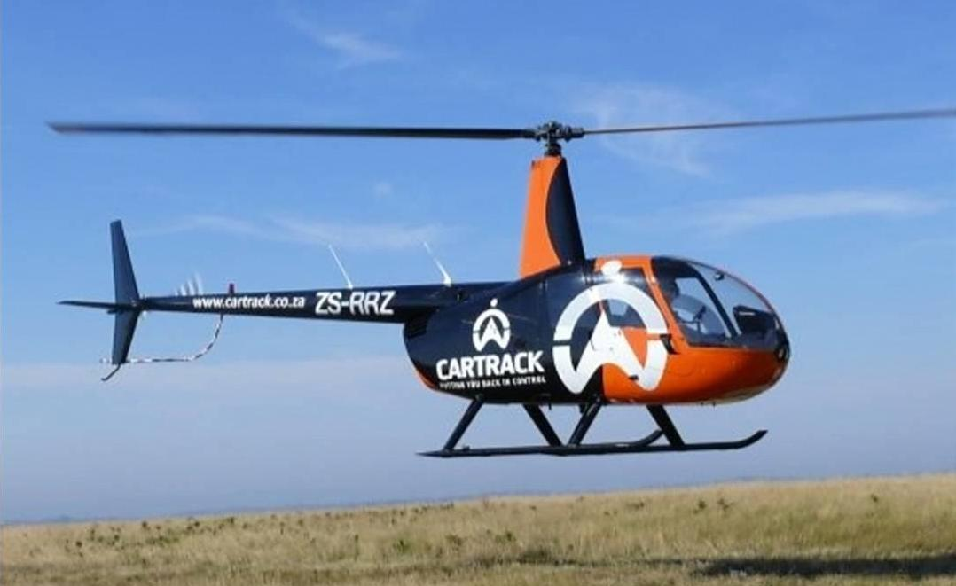 A photo of Cartrack's helicopter used for stolen vehicle recovery in South Africa.