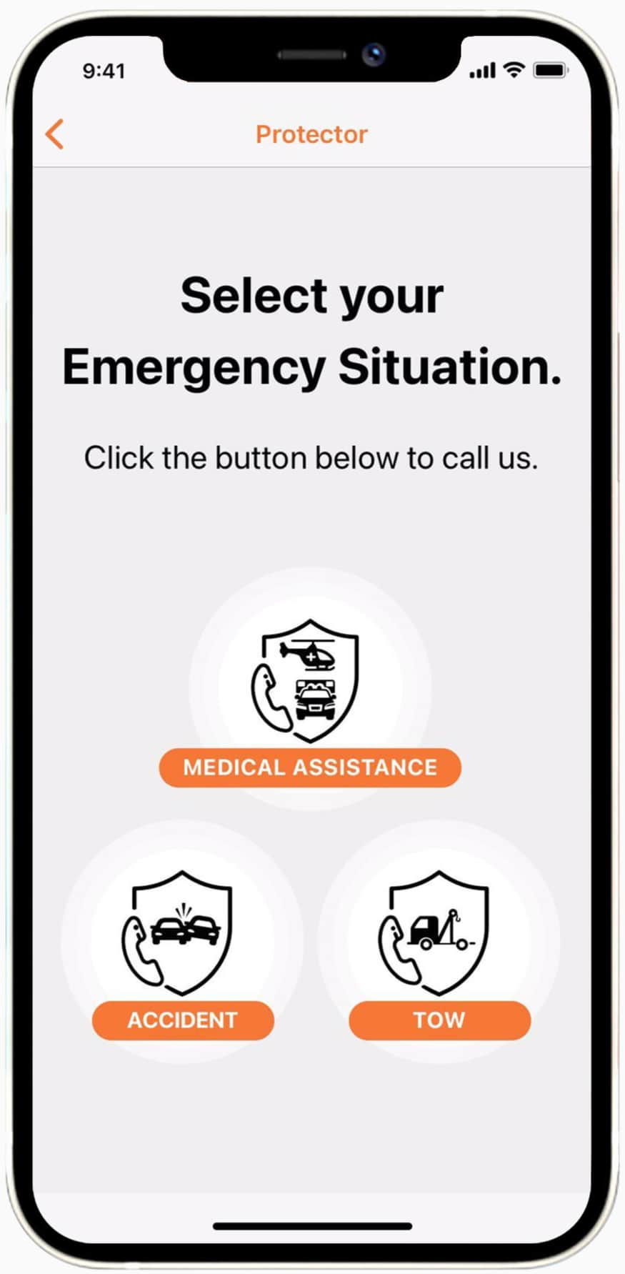 A screenshot of Cartrack's mobile app Protector solution that allows emergency access to accident and roadside assistance, as well as  legal, car hire and accommodation advice.