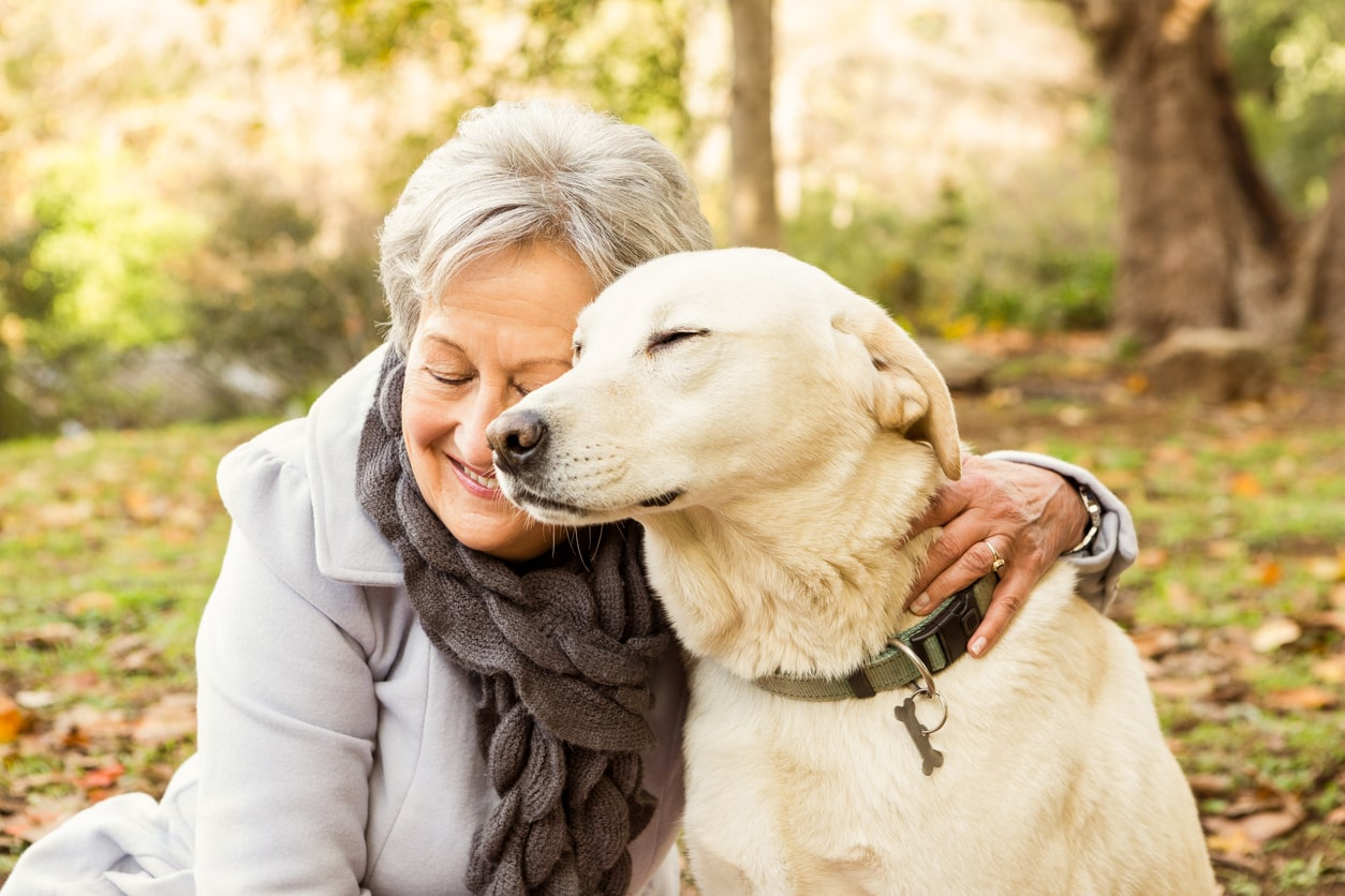 Guidance for employees retiring (after 2011). Image of retired woman and her dog