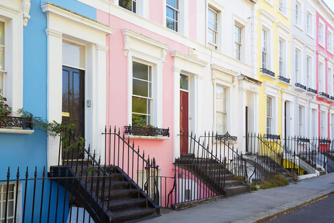 A row of colourful houses in London