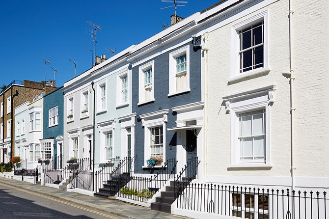 Can I get a mortgage if I'm self-employed? -Image of row of houses   Crunch