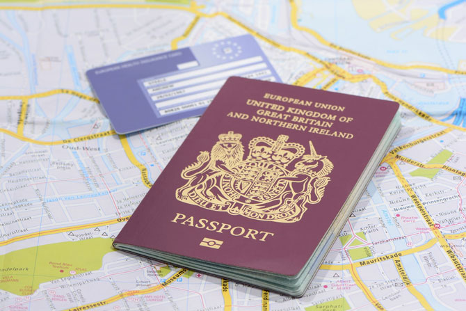 How to check a person's legal right to work in the UK (and the impact of Brexit) - Crunch - image of a passport and EU citizenship card
