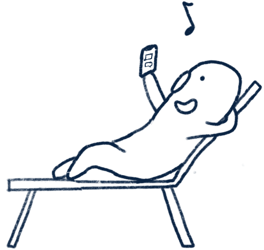 Piccolo sitting on a beach chair