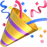 Celebration horn and streamer emoji