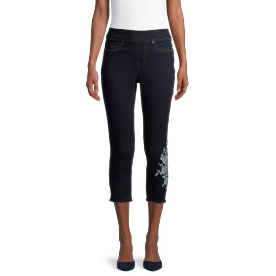 Embroidered Pull-On Capri Jeans