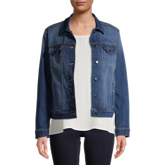 Embroidered Denim Jacket, Medium Wash