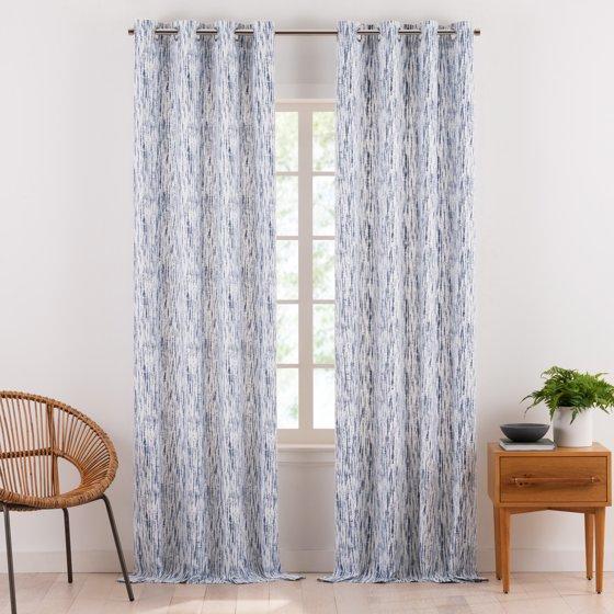 Shibori Tie Dye Organic Cotton Window Curtain Pair