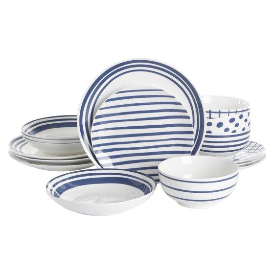 Blue & White Porcelain Dinnerware Set