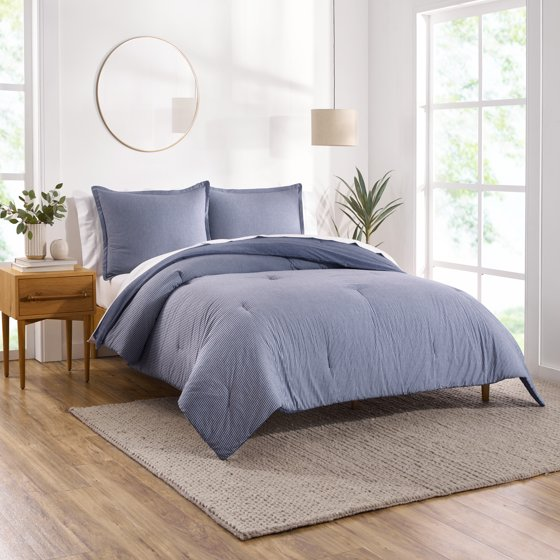 Yarn Dyed Reversible Chambray Stripe Comforter Set