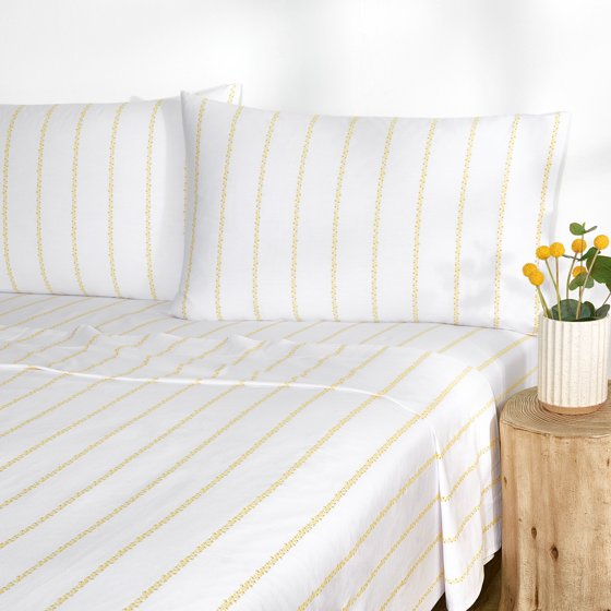 Floral Pinstripe Percale Easy Care Sheet Set