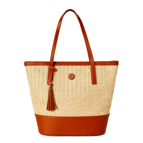 Meadow Large Straw Beach Tote Handbag with Texture