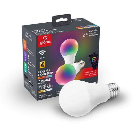 Wi-Fi Smart 60W Equivalent Multicolor Changing LED Light Bulb (2 pack)