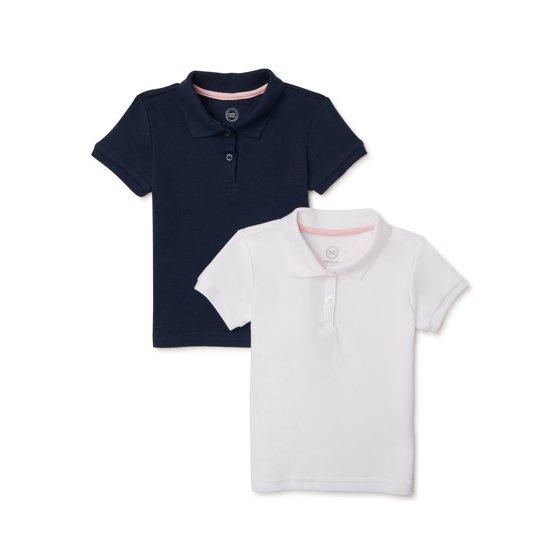 Toddler Girls School Uniform Short Sleeve Interlock Polo Shirt, 2-Pack