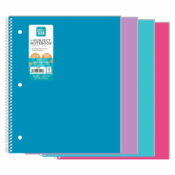 """1-Subject Notebook, College Ruled, 9"""" x 11"""", 100 Sheets"""