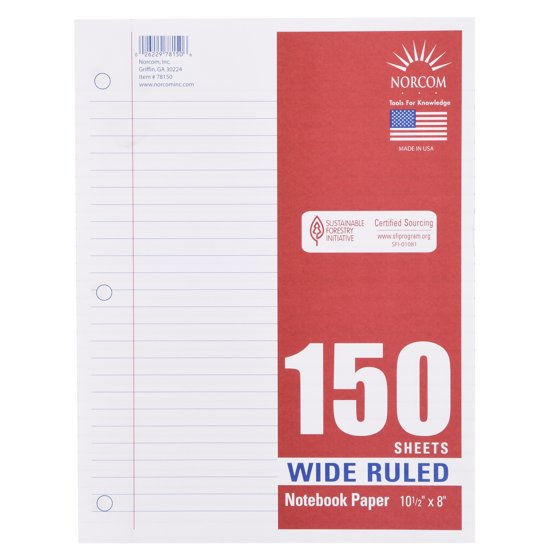 """Filler Paper, Wide Ruled, 150 Pages, 8"""" x 10.5"""""""
