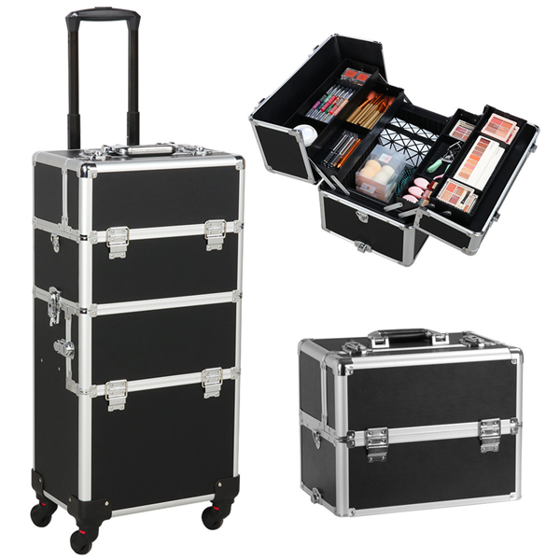 Easyfashion Professional 3-in-1 Aluminum Rolling Makeup Case