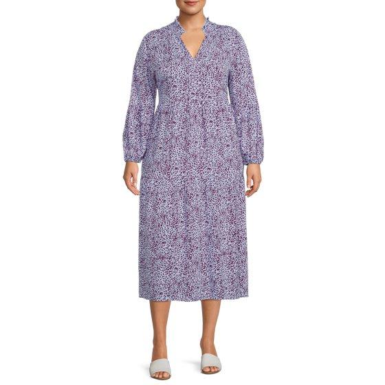 Terra & Sky Womens Plus Long Sleeve Printed Peasant Midi Dress