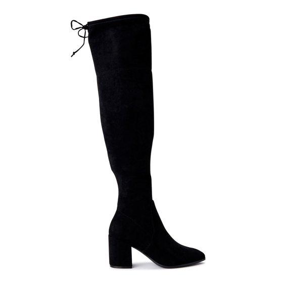 Scoop Tie Back Block Heel Over The Knee Boots