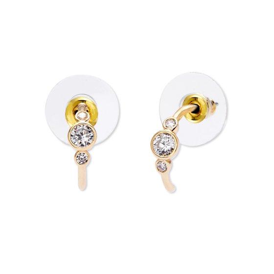 Scoop Womens Brass 14KT Gold Flash Plated Cubic Zirconia Mix & Match Earring Set