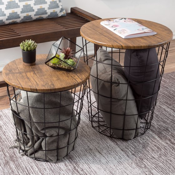 Nesting End Tables with Storage- Set of 2 Round Metal Baskets