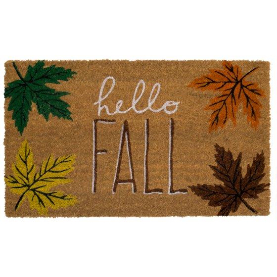 Hello Fall Coir Doormat Leaves Natural Fiber Outdoor