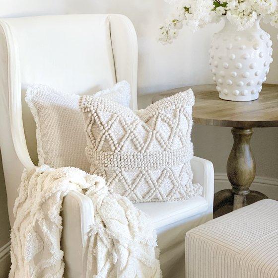 Mckinney Woven Textured Diamond Stripe Farmhouse Square Pillow Cover