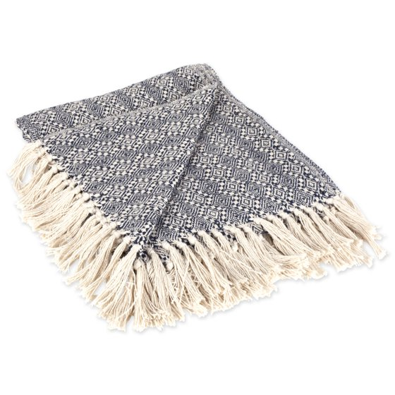 DII Rustic Farmhouse Cotton Diamond Patterned Blanket Throw with Fringe