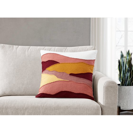 Waves Hooked Embroidery Decorative Throw Pillow