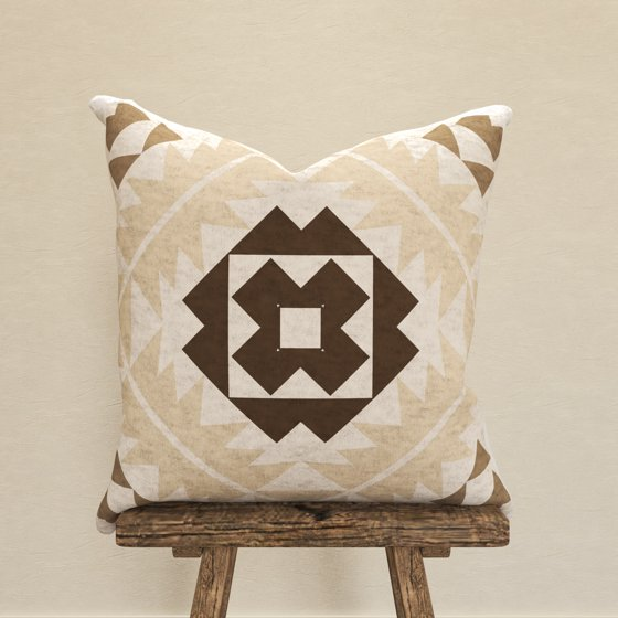 Decorative Throw Pillow Cover, Bold Southwest Inspired Textural Print