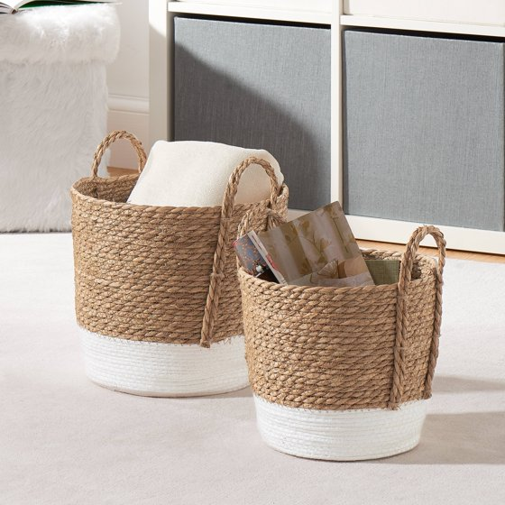 Mainstays Seagrass & Paper Rope Baskets, Set of 2