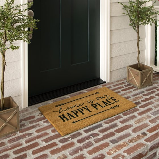 Mainstays Home Is Our Happy Place Outdoor Coir Doormat