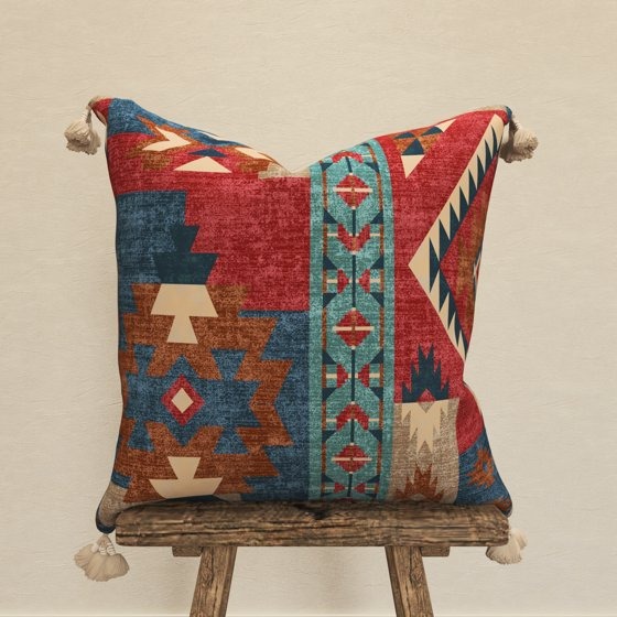 """Decorative Throw Pillow Cover, 18"""" x 18"""", Southwest Tapestry Pattern"""