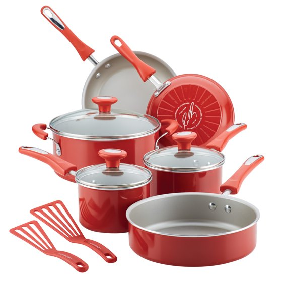Rachael Ray 11-Piece Get Cooking! Pots and Pans Set, Cookware Set, Red