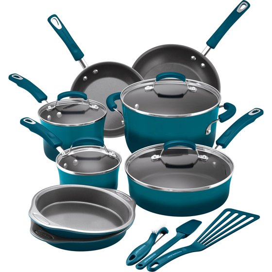 Rachael Ray 15-Piece Nonstick Pots and Pans Set/Cookware Set, Marine Blue
