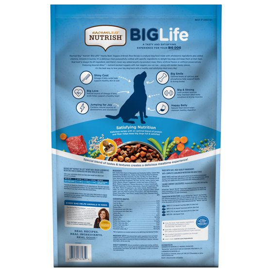 Big Life Dry Dog Food for Big Dogs, Hearty Beef, Veggies & Brown Rice Recipe