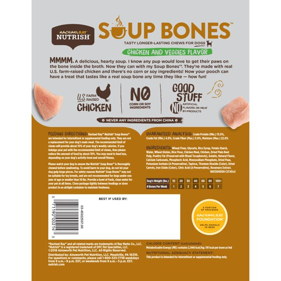 Soup Bones Dog Treats, Real Chicken & Veggies Flavor