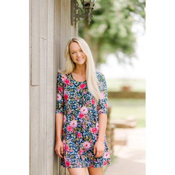 3/4 Sleeve A-Line Dress, Womens, Mystic Floral