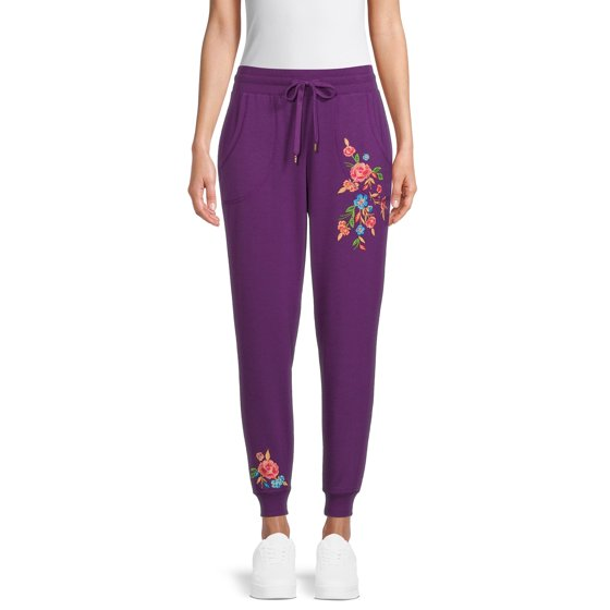 French Terry Embroidered Joggers, Eggplant