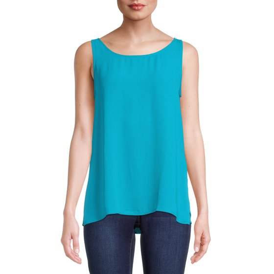 Sleeveless Tank Top with Scoop Neck, Teal Spruce